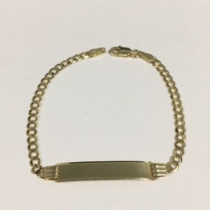 Other - 14k Yellow Gold Cuban Link Children's ID Bracelet